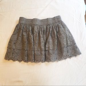 Abercrombie and Fitch Gray Lace Miniskirt